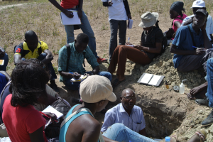 Photos showing courses on soil fertilty assessment within a watershed in Senegal