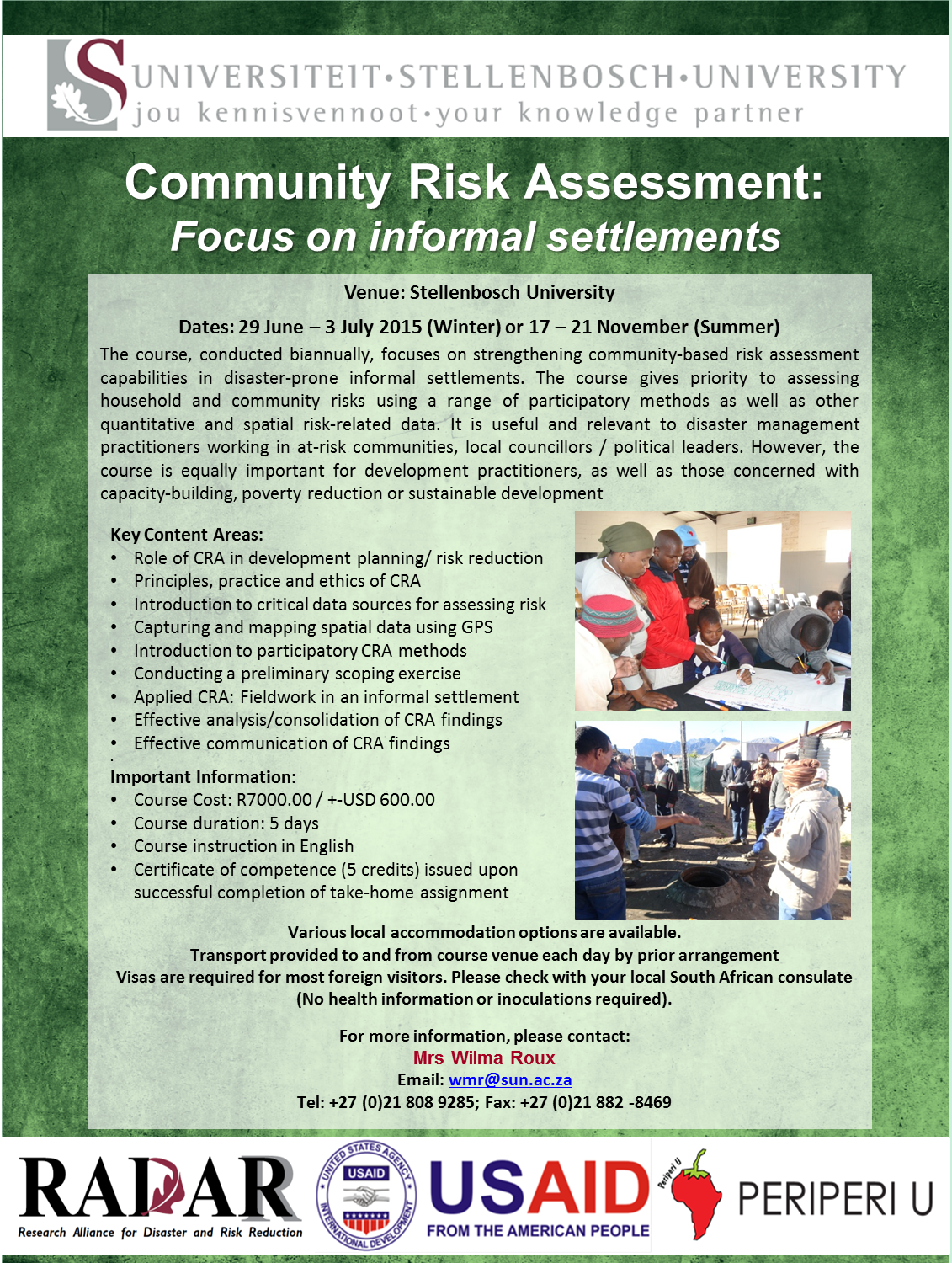 Community Risk Assessment Short Courses - hosted by RADAR